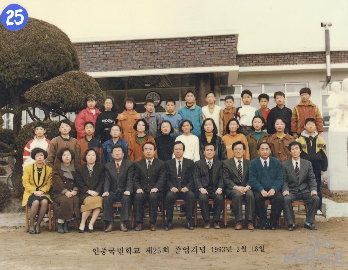 1993년 인풍국민학교 제25회 졸업기념 사진