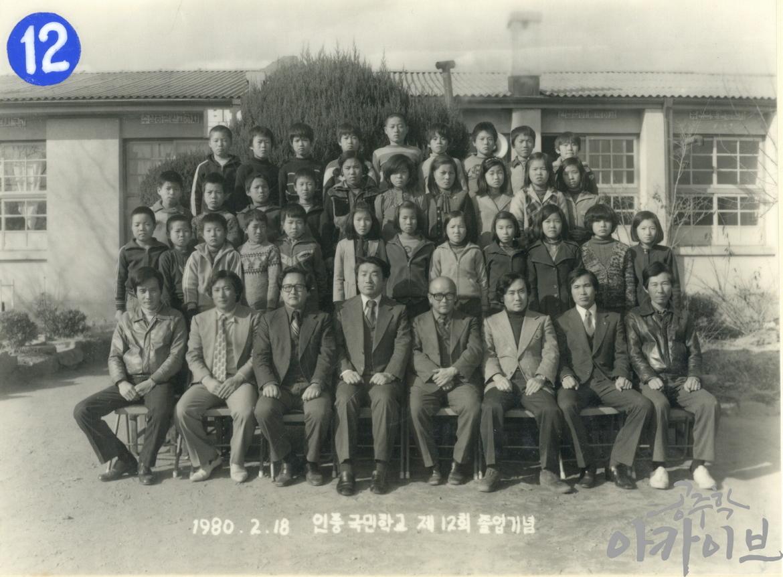 1980년 인풍국민학교 제12회 졸업기념 사진